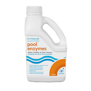 Natural Pool & Filter Cleaner suitable for above & below ground pools, Pool Enzymes eliminates organic material reduce the need for chemicals. Pool Enzymes 1 litre
