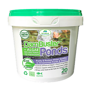 Clean ponds naturally with Dam Buster Ponds. Restore water quality in ornamental ponds without harming plants or fish. 100% safe for aquatic life! 20 pack of Dam Buster Ponds cleans ponds naturally. Restore water quality in ornamental ponds without harming plants or fish. 100% safe for aquatic life!